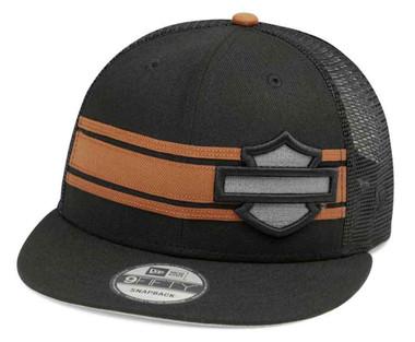 Harley-Davidson Mens Stripe & Logo 9FIFTY Trucker Baseball Cap, Black 99410-20VM - Wisconsin Harley-Davidson