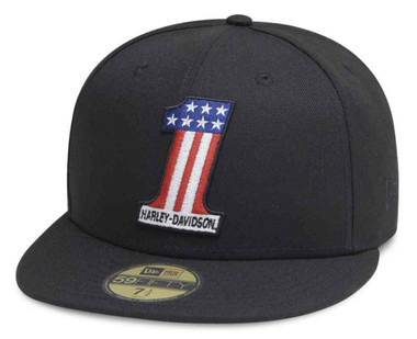 Harley-Davidson Men's #1 Logo 59FIFTY Flat Brim Baseball Cap, Black 99418-20VM - Wisconsin Harley-Davidson