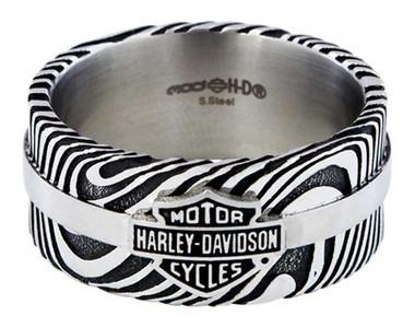 Harley-Davidson Men's Driftwood B&S Logo Ring Band, Stainless Steel HSR0078 - Wisconsin Harley-Davidson