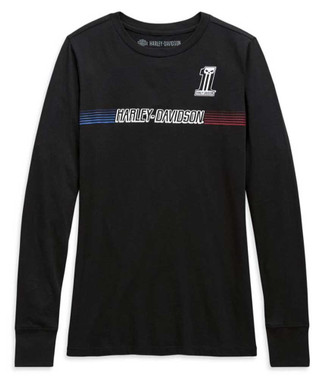 Harley-Davidson Women's Chest Stripe Long Sleeve Cotton Tee - Black 99105-20VW - Wisconsin Harley-Davidson