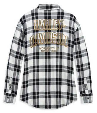 Harley-Davidson Women's Metallic #1 Skull Buffalo Plaid Woven Shirt 99104-20VW - Wisconsin Harley-Davidson
