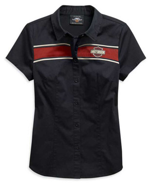 Harley-Davidson Women's Washed Striped Short Sleeve Woven Shirt 99122-20VW - Wisconsin Harley-Davidson