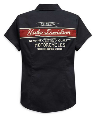 Harley-Davidson Women's Washed Striped Short Sleeve Woven Shirt 99122-20VW - Wisconsin Harley-Davidson