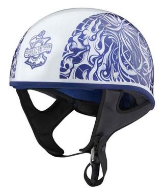 Harley-Davidson Unisex Foile Low Profile J06 Half Helmet, White/Blue 98192-20VX - Wisconsin Harley-Davidson