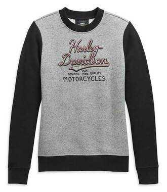 Harley-Davidson Women's Colorblocked Embroidered Pullover Sweatshirt 99119-20VW - Wisconsin Harley-Davidson