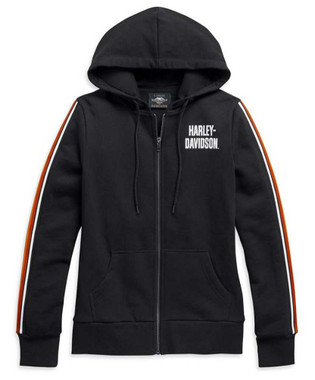 Harley-Davidson Womens Sleeve Stripe Embellished Zip-Up Hoodie, Black 99111-20VW - Wisconsin Harley-Davidson