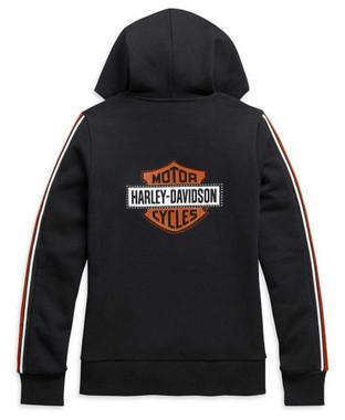 Harley-Davidson Womens Sleeve Stripe Embellished Zip-Up Hoodie, Black 99111-20VW - Wisconsin Harley-Davidson
