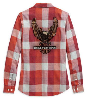 Harley-Davidson Women's Vintage Eagle Long Sleeve Plaid Woven Shirt 99124-20VW - Wisconsin Harley-Davidson