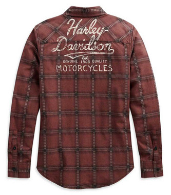 Harley-Davidson Women's Script Font Long Sleeve Plaid Shirt - Red 99117-20VW - Wisconsin Harley-Davidson