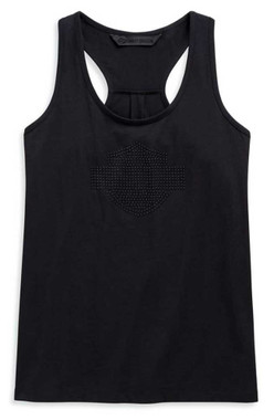Harley-Davidson Women's Studded B&S Logo Sleeveless Tank Top, Black 99128-20VW - Wisconsin Harley-Davidson