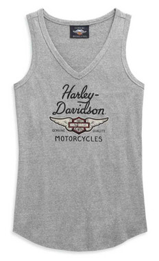 Harley-Davidson Women's Winged Logo V-Neck Sleeveless Tank Top, Gray 99123-20VW - Wisconsin Harley-Davidson