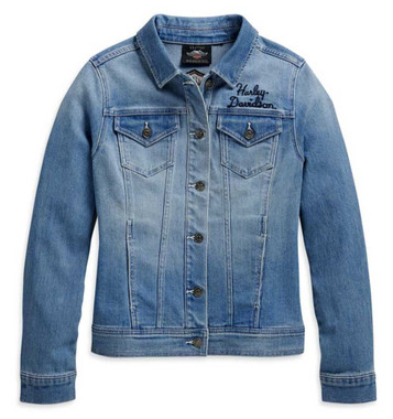 Harley-Davidson Women's Winged Logo Cotton Blend Denim Jacket, Blue 98410-20VW - Wisconsin Harley-Davidson