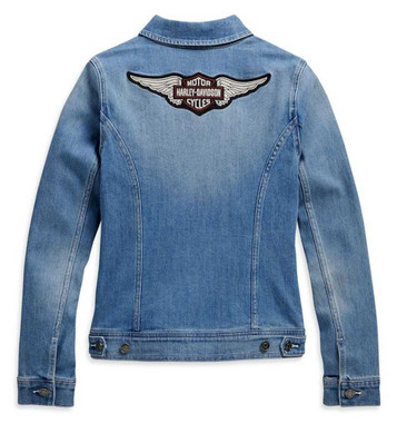 Harley-Davidson Women's Winged Logo Cotton Blend Denim Jacket, Blue 98410-20VW - Wisconsin Harley-Davidson