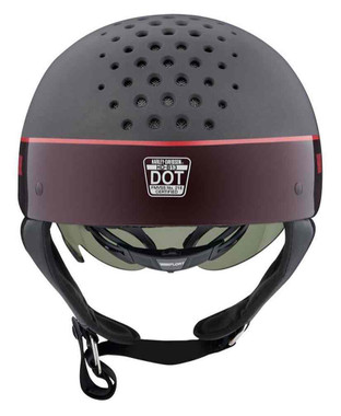 Harley-Davidson Unisex Trenton Two-Tone B13 Half Helmet, Gray/Red 98106-20VX - Wisconsin Harley-Davidson