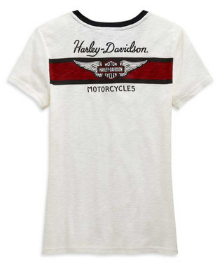 Harley-Davidson Women's Winged Logo Short Sleeve Henley, Off White 99120-20VW - Wisconsin Harley-Davidson