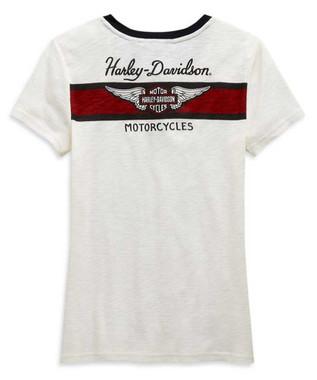 Harley-Davidson Women's Winged Logo Short Sleeve Henley, Off White 99120-20VW - Wisconsin Harley-Davidson