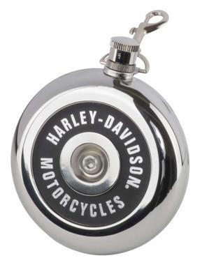 Harley-Davidson Air Cleaner Style Round Flask, 8 oz. - Silver Stainless Steel - Wisconsin Harley-Davidson