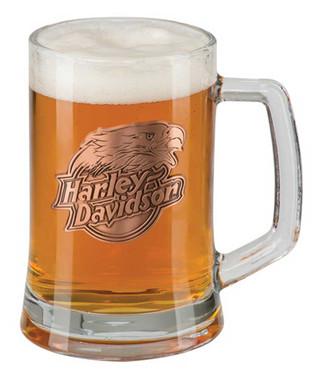 Harley-Davidson Copper Eagle Medallion Hand Blown Glass Heavy Beer Mug - 20 oz. - Wisconsin Harley-Davidson