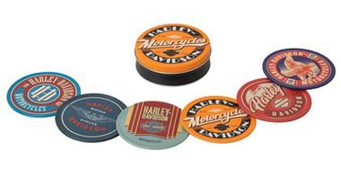 Harley-Davidson Retro H-D Tin 3.5 inch Coaster Set, Pack of 6 - Matte Finishes - Wisconsin Harley-Davidson