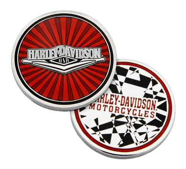 Harley-Davidson Red Tank H-D Metal Challenge Coin, 1.75in, Red & Silver Finishes - Wisconsin Harley-Davidson