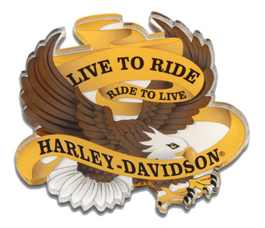 Harley-Davidson Cut-Out Live to Ride Eagle Hard Acrylic Magnet - 3.5 x 3.25 inch - Wisconsin Harley-Davidson
