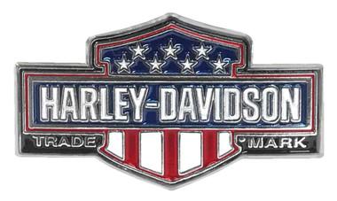 Harley-Davidson 1.25 in. American Flag Trademark B&S Pin, Silver Nickel Finish - Wisconsin Harley-Davidson
