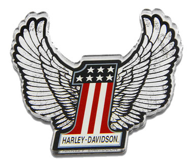 Harley-Davidson Cut-Out #1 RWB Winged Logo Hard Acrylic Magnet - 3.5 x 3.25 inch - Wisconsin Harley-Davidson
