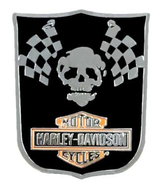 Harley-Davidson 1.25in. Racing Skull B&S Logo Metal Pin, Silver & Black Finishes - Wisconsin Harley-Davidson