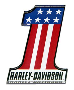 Harley-Davidson Cut-Out Number One RWB Logo Hard Acrylic Magnet - 3.25 x 2 inch - Wisconsin Harley-Davidson