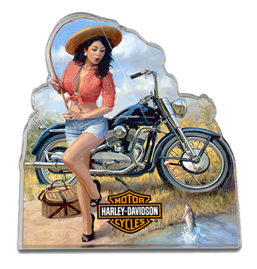 Harley-Davidson Catch of the Day Pin Up Lady Hard Acrylic Magnet, 4 x 3.5 inches - Wisconsin Harley-Davidson