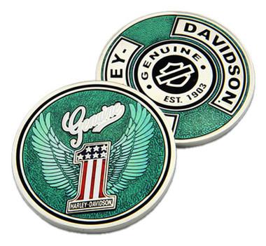 Harley-Davidson Genuine Winged #1 Logo Metal Challenge Coin, 1.75 in. - Blue - Wisconsin Harley-Davidson
