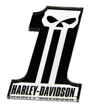 Harley-Davidson Cut-Out Number One Skull Logo Hard Acrylic Magnet - 3.25 x 2 in. - Wisconsin Harley-Davidson