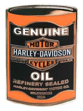Harley-Davidson 1.25 in. Genuine B&S Oil Can Pin - Black/Orange, Silver Finish - Wisconsin Harley-Davidson