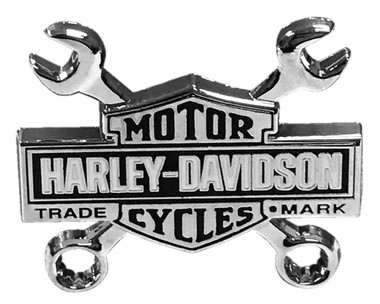 Harley-Davidson 1.5 in. Trademark Bar & Shield Wrench Pin, Silver Nickel Finish - Wisconsin Harley-Davidson