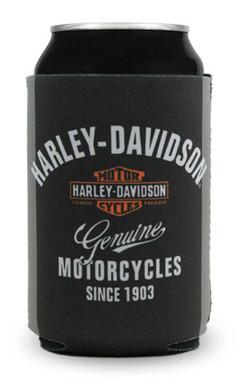 Harley-Davidson Premium Bar & Shield Neoprene Can Flat, Black & Gray CF34363 - Wisconsin Harley-Davidson