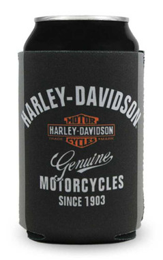 Harley-Davidson Premium Bar & Shield Neoprene Can Flat, Black & Gray CF34363 - Wisconsin Harley-Davidson