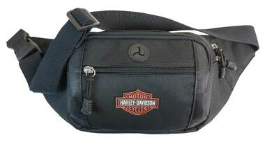 Harley-Davidson Orange Patch Bar & Shield Logo Crossbody / Waistpack Bag - Black - Wisconsin Harley-Davidson