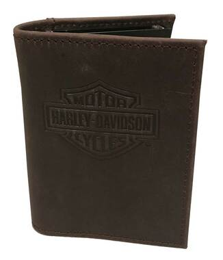 Harley-Davidson Men's B&S Logo Click Card Case Leather Wallet MCH8428-BRNBLK - Wisconsin Harley-Davidson