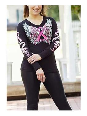 Liberty Wear Women's Winged Pink Ribbon Embellished Long Sleeve Shirt - Black - Wisconsin Harley-Davidson
