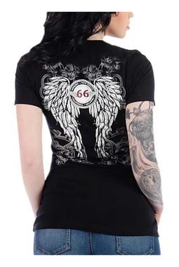 Liberty Wear Women's Route 66 Thunder Embellished Short Sleeve V-Neck Tee, Black - Wisconsin Harley-Davidson