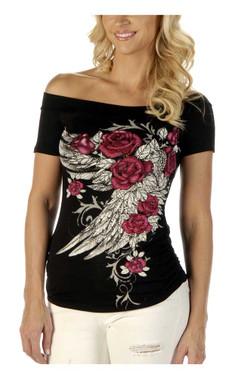 Liberty Wear Women's Blossomed Elegance Embellished Off The Shoulder Top, Black - Wisconsin Harley-Davidson