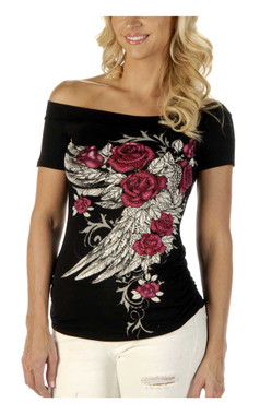 Liberty Wear Women's Blossomed Elegance Embellished Off The Shoulder Top, Black - Wisconsin Harley-Davidson