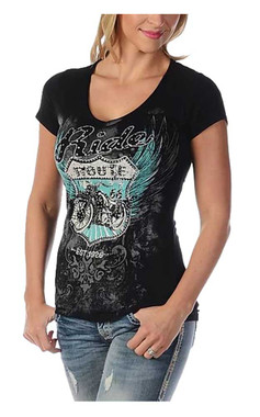 Liberty Wear Women's Bikin' Route 66 Embellished Short Sleeve V-Neck Tee, Black - Wisconsin Harley-Davidson