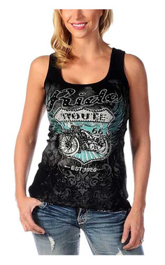 Liberty Wear Women's Ride Route 66 Embellished Sleeveless Tank Top - Black - Wisconsin Harley-Davidson