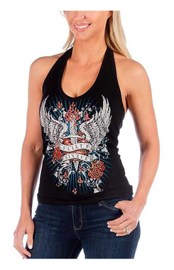 Liberty Wear Women's Heart on Fire Dagger Embellished Backless Halter Top -Black - Wisconsin Harley-Davidson