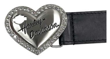 Harley-Davidson Women's Rebel Embellished Heart Genuine Leather Belt - Black - Wisconsin Harley-Davidson