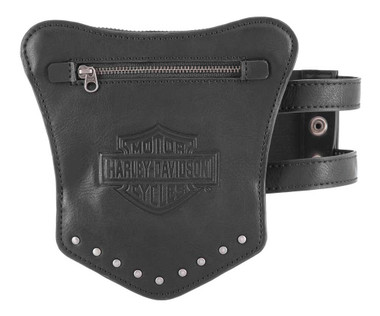 Harley-Davidson Women's B&S Garter Thigh Leather Wallet - 6.5 x 6.75 inches - Wisconsin Harley-Davidson