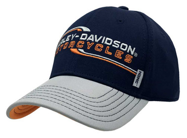 Harley-Davidson Men's Lineation Embroidered Adjustable Baseball Cap, Navy & Gray - Wisconsin Harley-Davidson