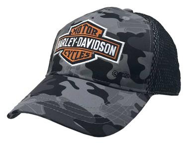 Harley-Davidson Little Boys' B&S Camo Print Mesh Baseball Cap - Gray 7280929 - Wisconsin Harley-Davidson