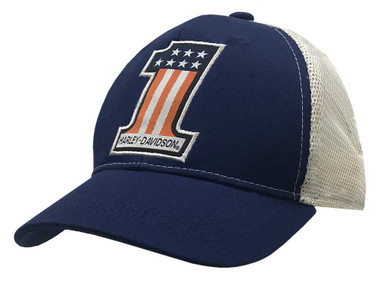 Harley-Davidson Little Boys' Woven #1 Adjustable Trucker Baseball Cap 7280931 - Wisconsin Harley-Davidson